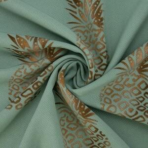 Ткань на отрез супер софт Ананасы на мятном