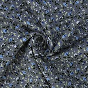 Ткань на отрез штапель 150 см 20015 Голубые цветы на сером