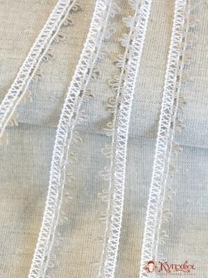 Кружево цв.белый/льняной, 14мм, хлопок-69%, п/э-31%