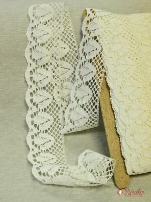 Кружево цв.слоновая кость, лен-100%, 73 мм