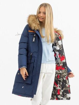 Двустороннее пальто для девочек (био-пух)