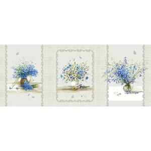 Ткань на отрез рогожка 150 см 11998/1 Полевые цветы