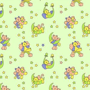 Ткань на отрез фланель 90 см 5790/1 Звездный котик цвет зеленый