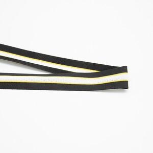 Лампасы №152 черный желтые полосы с перфорацией 3см 1 метр