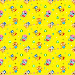Ткань на отрез фланель 90 см 5431/4 Котики цвет желтый