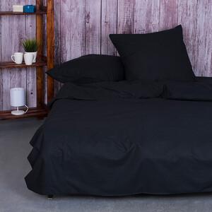 Постельное белье из поплина Черный 2-х сп с евро простыней.
