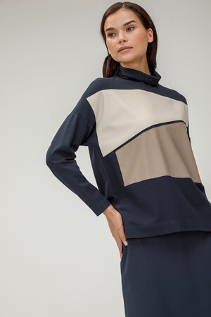 Блузка со вставками из искусственной кожи арт. 10423/СИНИЙ