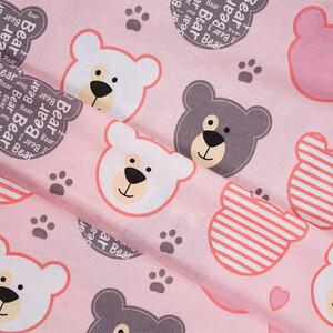 Ткань на отрез бязь плательная 150 см 8126/1 Мишки (пэчворк) розовый