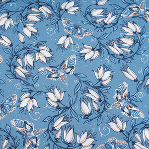 Ткань на отрез кулирка R4147-V3 Цветы на голубом