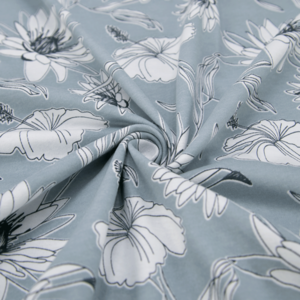 Ткань на отрез кулирка 2382-V2 Цветы на голубом