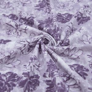 Ткань на отрез кулирка 2389-V1 Пионы цвет сиреневый