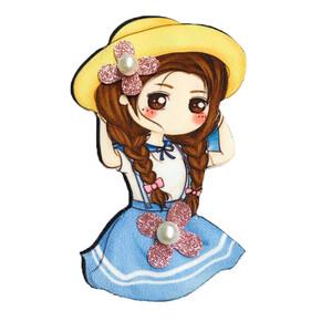 Аппликация ТАБ 2089 девочка в шляпке 5*8см бусины