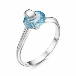 Кольцо из серебра с фианитом, 238809Д3