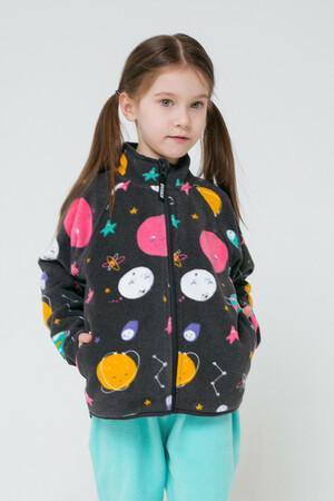 ФЛ 34011/н/39 Куртка для девочки графит, космические приключения