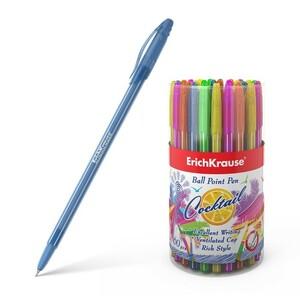 Ручка шариковая Erich Krause Coctail, узел-игла 0.6 мм, чернила синие, одноразовая, длина линии письма 1000 метров, микс