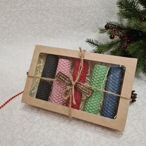 Свечи из вощины 10*2,5см (5шт) в подарочной упаковке