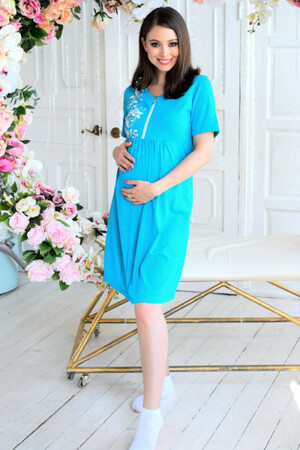 Платье домашнее для беременных и кормящихИзумруд меланж (арт. 1985)