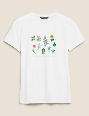 Хлопковая футболка с круглым вырезом и цветочным принтом
