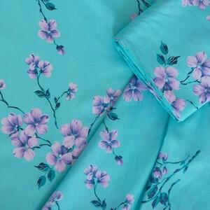 Ткань на отрез бязь 120 гр/м2 150 см М777 Цветы на бирюзовом