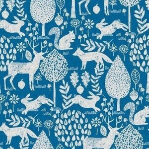 Ткань на отрез рогожка 150 см 20000/2 Сказочный лес цвет синий