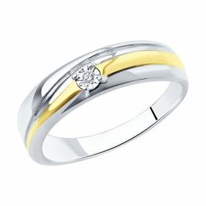 Кольцо из серебра с родированием с бриллиантом, 87010038