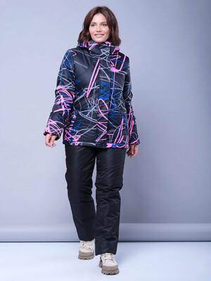 Зимний женский костюм М-155 ПРИНТЫ (черный/розовый)