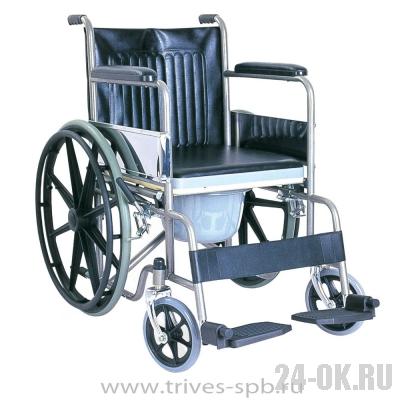 CA609BE Кресло-коляска TRIVES (с туалетом,цельнолитые резиновые колеса)