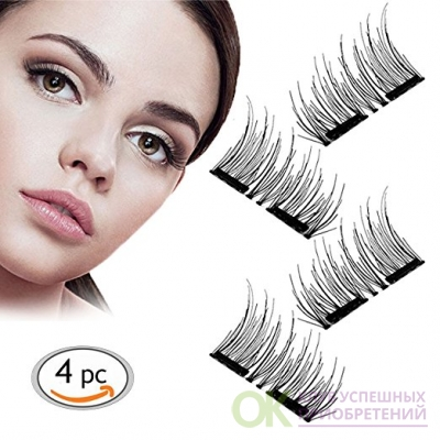 3D Reusable Dual Magnetic False Eyelashes,Eyes More Beautiful and Natural Look,1 Pair of 4 PCS