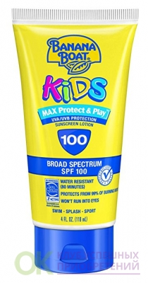 Banana Boat Sunscreen Kids MAX Protect & Play Broad Spectrum Sun Care Sunscreen Lotion - SPF 100, 4 Ounce