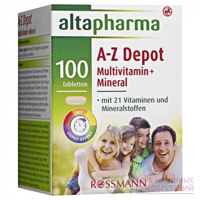 altapharma A-Z Depot Multivitamin + Mineral Витаминно-Минеральный комплекс в таблетках с витаминами и минералами 100 шт. (арт. RS-448154)
