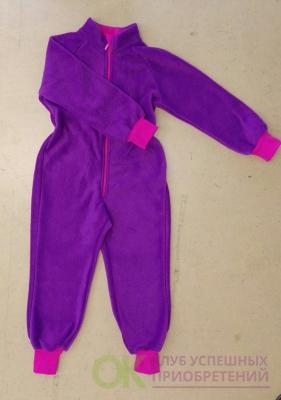 флисовый комбинезон (поддева) фиолетовый с фуксией
