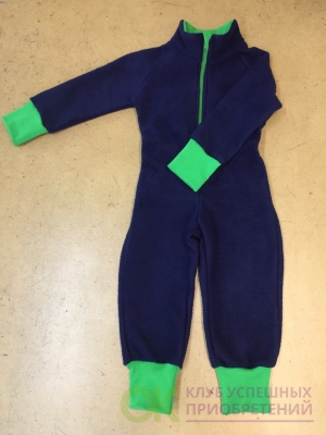 флисовый комбинезон (поддева) темно — синий с зелеными манжетами 128