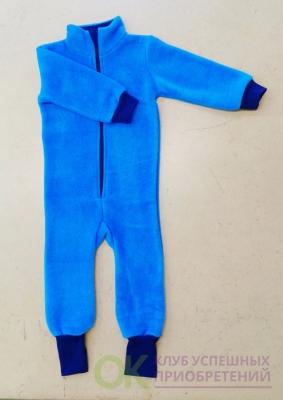 поддева флисовая бирюзовая с синими манжетами 80-86