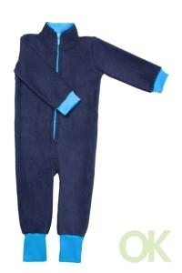 поддева флисовая тёмно-синяя с голубыми манжетами размер 116-122