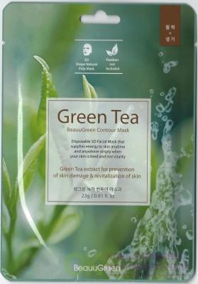 BEAUUGREEN 3D Green Tea Essence Mask Маска-салфетка д/лица