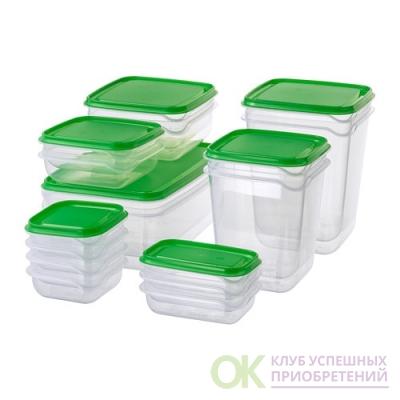 ПРУТА, Набор контейнеров, 17 шт., прозрачный, зеленый