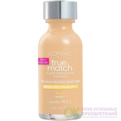 L'Oreal Paris Makeup True Match Super-Blendable Liquid Foundation, Vanilla W2.5, 1 Fl Oz,1 Count