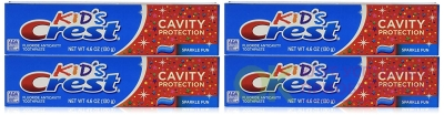 Crest Kid's Crest, Fluoride Anticavity Toothpaste, Sparkle Fun Flavor, 4.6 Ounce Tubes (Pack of 4)