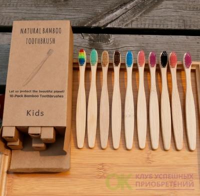 Зубная щетка бамбуковая ДЕТСКАЯ плоская ручка