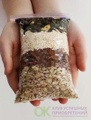 Смесь семечек обезжиренные для обогащения салатов/каши/смузи/десертов 200 гр