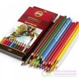 KOH-I-NOOR 3718 (24) Набор высококачественных акварельных  цветных  карандашей   Mondeluz   24 цвета, в картонной  коробке