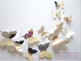 Набор зеркальных 3D бабочек 12 шт (серебро) - 615819