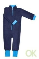 поддева флисовая тёмно-синяя с голубыми манжетами 92-98;104-110