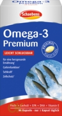 Schaebens Omega 3 Lachs- & Fischol Kapseln Капсулы Omega 3 Лосось- и Рыбий Жир, 90 шт