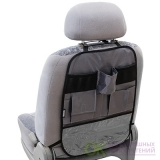 Защита спинки сиденья-органайзер SKYWAY ПВХ 7 карманов Серый
