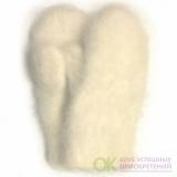 Женские белые пуховые варежки - 304.1