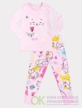 Пижама для девочки Crockid К 1512/роз.облако+кошки с цветами