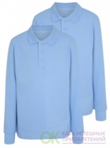 Boys Light Blue Long Sleeve School Polo Shirt 2 Pack